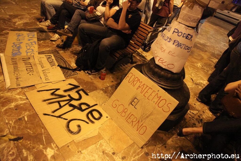 movimiento 15M en València, por Archerphoto, fotógrafo profesional jornada de reflexión