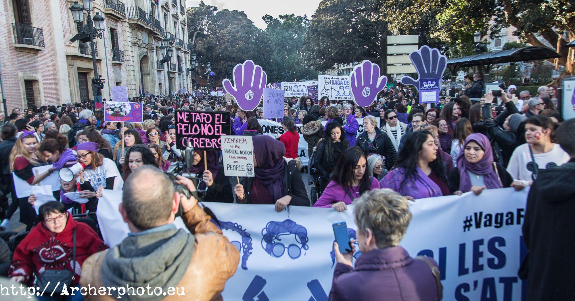Día de la Mujer, Valencia, España, 2018,fotografo Valencia,manifestacion