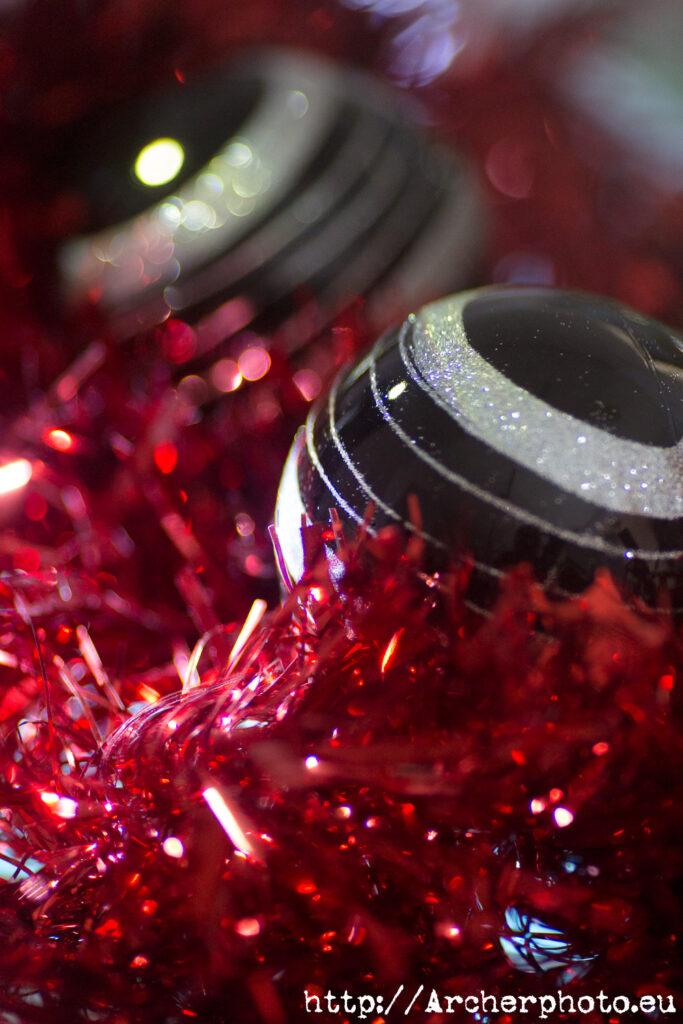 Bolas de navidady espumillón mostrando el bokeh, Archerphoto, fotografos València